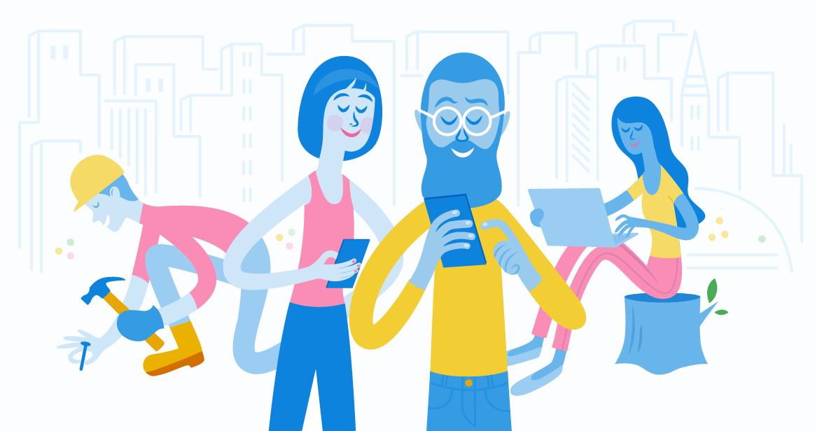 Illustration - FreshBooks characters Using Mobile App on-the-go