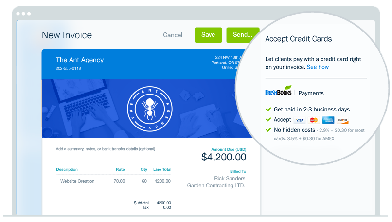 Invoice Settings - Start Accepting Credit Cards