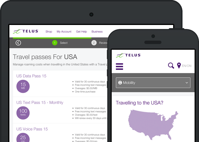 TELUS MyAccount - Add a Travel Pass
