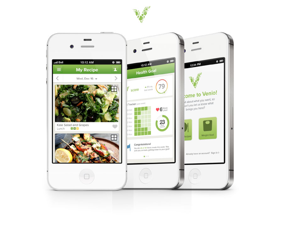 Venio Mobile App Displaying Weekly Recipes
